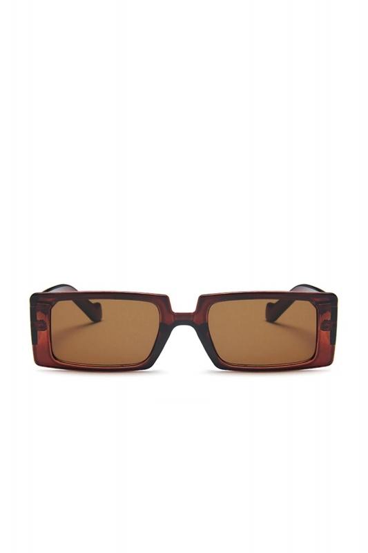Grace Dikdörtgen Büyük Güneş Gözlüğü Kahverengi