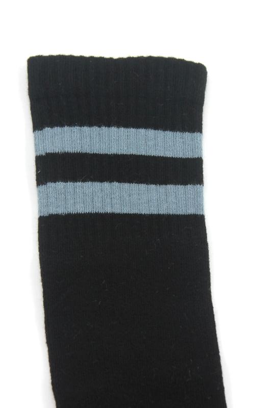 Gri Çizgili Pamuklu Diz Altı Çocuk Çorabı Siyah