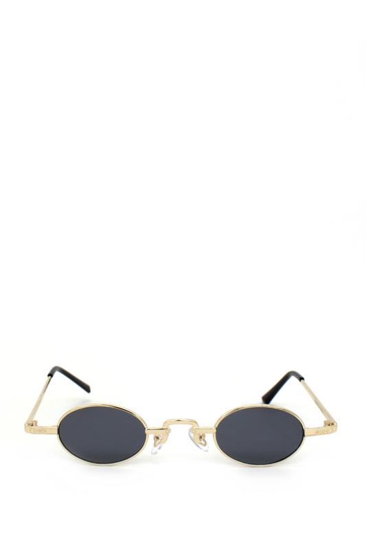 Harpers Retro Gold Metal Çerçeveli Küçük Oval Güneş Gözlüğü Siyah