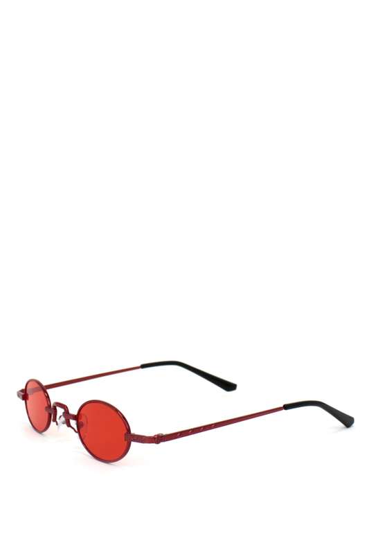 Harpers Retro Kırmızı Metal Çerçeveli Küçük Oval Güneş Gözlüğü Kırmızı