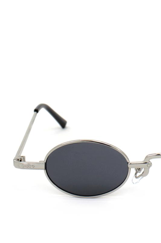 Harpers Retro Silver Metal Çerçeveli Küçük Oval Güneş Gözlüğü Siyah