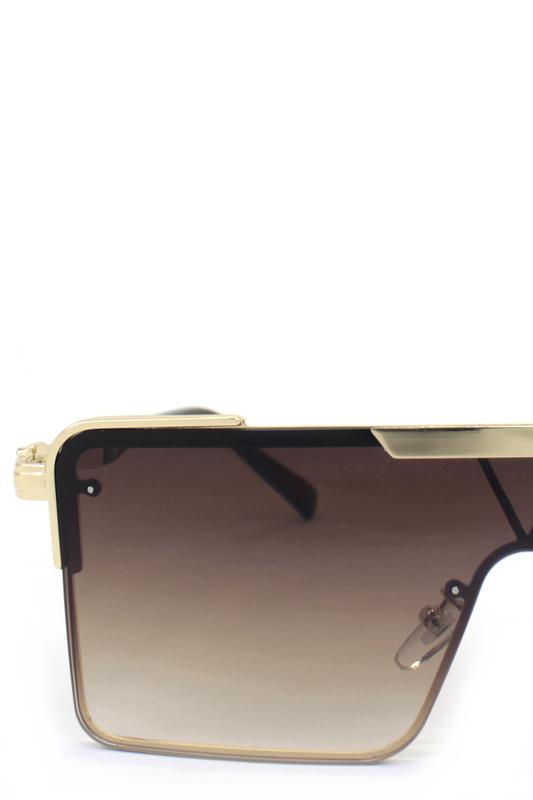 Haterblockers Gold Metal Çerçeveli Büyük Dikdörtgen Unisex Güneş Gözlüğü Degrade Kahverengi