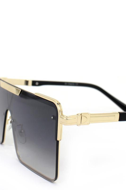 Haterblockers Gold Metal Çerçeveli Büyük Dikdörtgen Unisex Güneş Gözlüğü Degrade Siyah