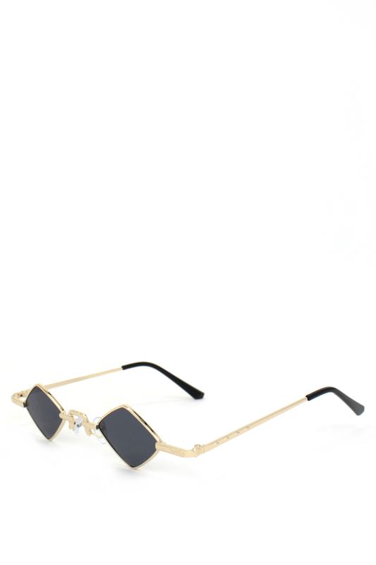 Hepburn Retro Gold Metal Çerçeveli Küçük Dörtgen Güneş Gözlüğü Siyah