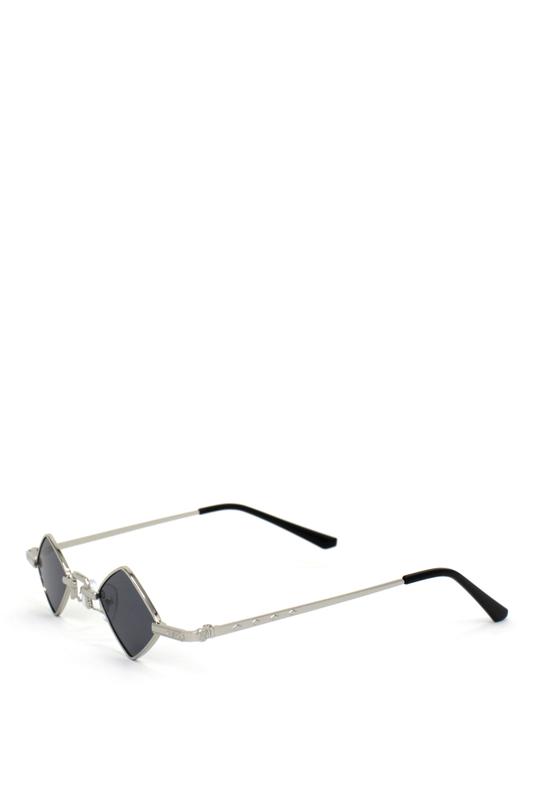 Hepburn Retro Silver Metal Çerçeveli Küçük Dörtgen Güneş Gözlüğü Siyah
