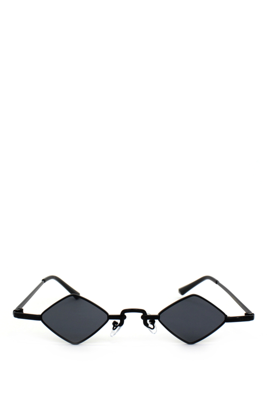 Hepburn Retro Siyah Metal Çerçeveli Küçük Dörtgen Güneş Gözlüğü Siyah