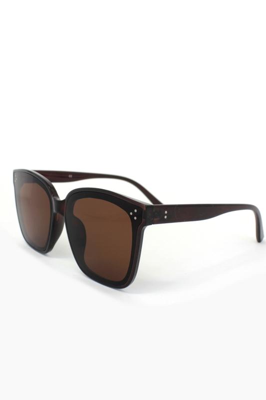 Her Progress Kahverengi Şeffaf Çerçeveli Kahverengi Camlı Oval Güneş Gözlüğü