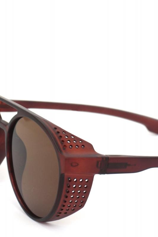 Hot Steampunk Düz Kahverengi Camlı Yuvarlak Unisex Güneş Gözlüğü Mat Kahverengi