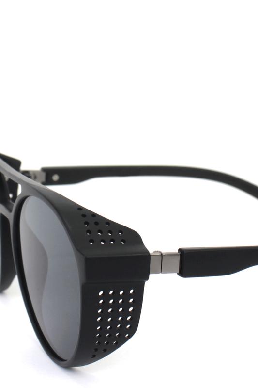 Hot Steampunk Siyah Camlı Yuvarlak Unisex Güneş Gözlüğü Mat Siyah