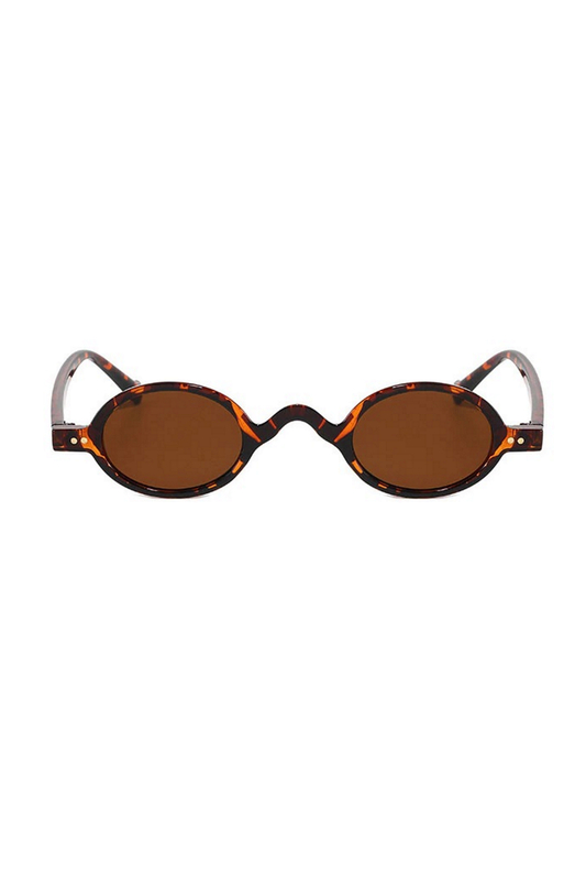 I Love Retro Kahverengi Camlı Küçük Yuvarlak Çerçeveli Unisex Güneş Gözlüğü Leopar