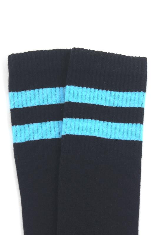 Icon Mavi Çizgili Diz Altı Koton Spor Çorap Lacivert
