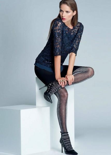 Jartiyer Desenli Simli İnce Külotlu Çorap Siyah - Gümüş