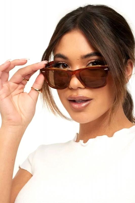 Just-in Kare Çerçeveli Klasik Bayan Güneş Gözlüğü Parlak Kahverengi