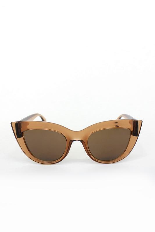 Kalın Çerçeveli Tasarım Cat Eye Bayan Güneş Gözlüğü Açık Kahverengi