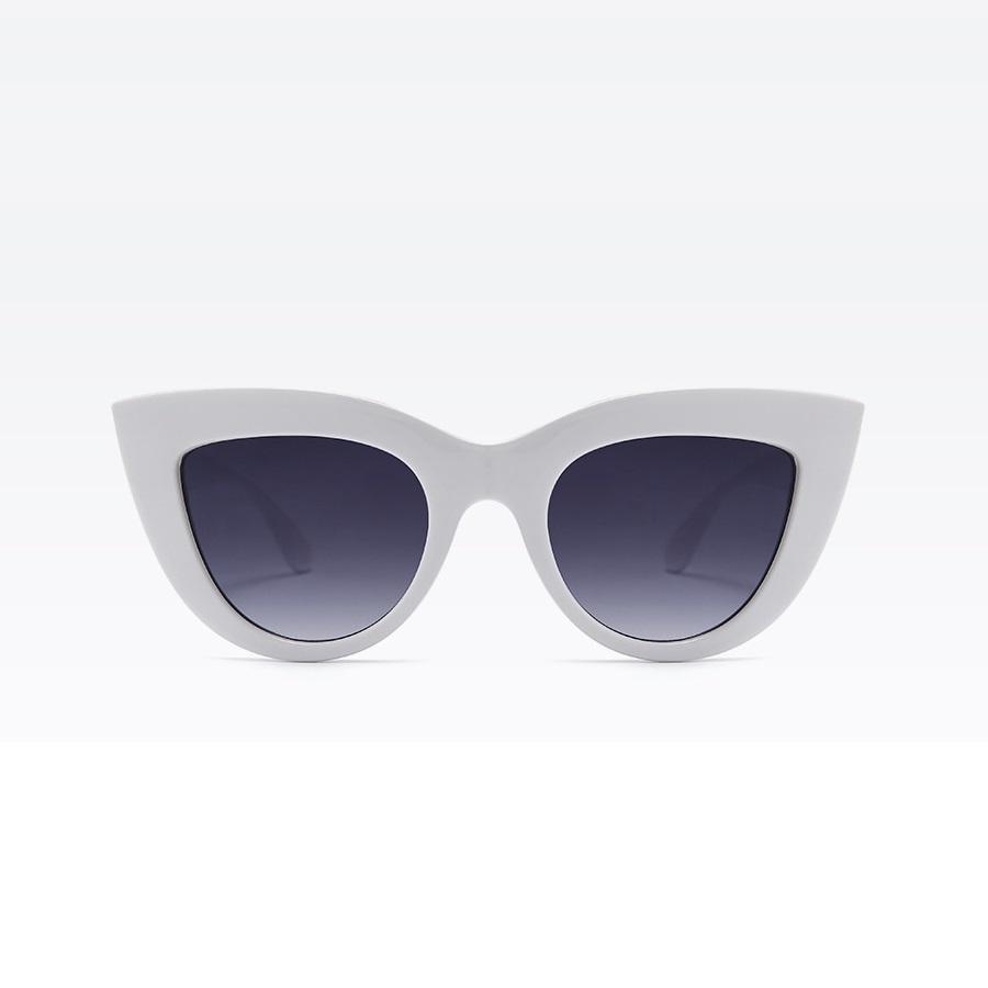 Kalın Çerçeveli Tasarım Cat Eye Bayan Güneş Gözlüğü Beyaz