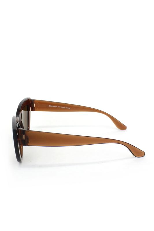 Kalın Çerçeveli Tasarım Cat Eye Bayan Güneş Gözlüğü Kahverengi