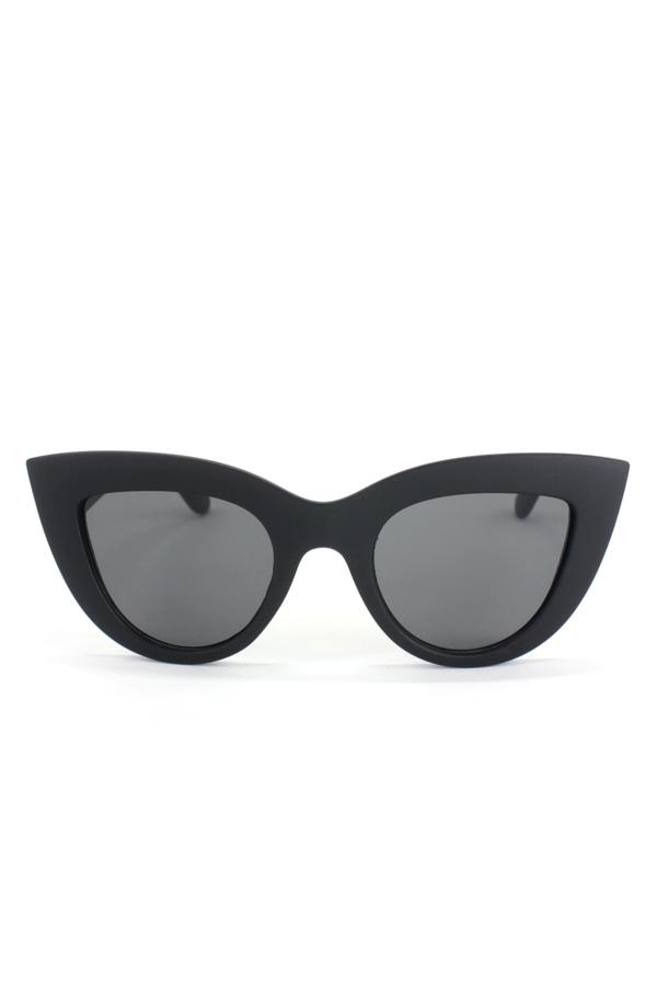 Kalın Çerçeveli Tasarım Cat Eye Bayan Güneş Gözlüğü Mat Siyah Yeni
