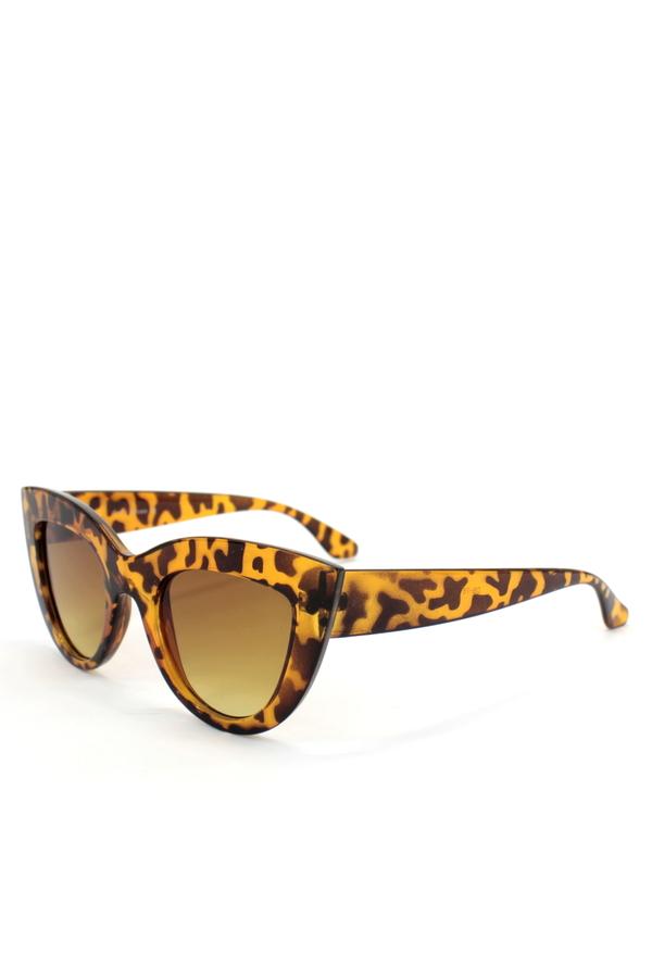 Kalın Çerçeveli Tasarım Cat Eye Bayan Güneş Gözlüğü New Leopar