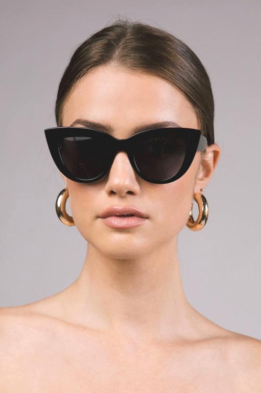 Kalın Çerçeveli Tasarım Cat Eye Bayan Güneş Gözlüğü Parlak Siyah