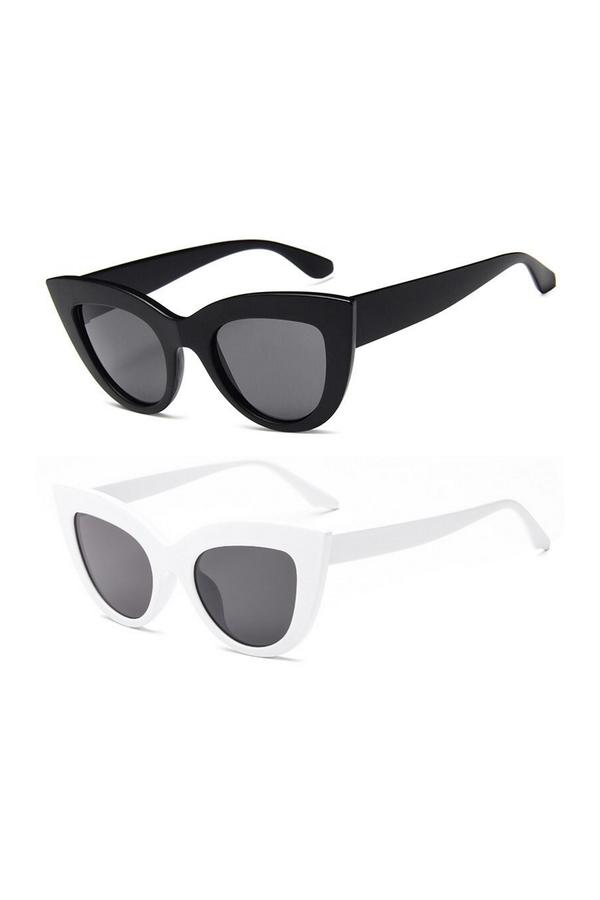 Kalın Çerçeveli Tasarım Cat Eye Bayan Güneş Gözlüğü Siyah Beyaz 2'li
