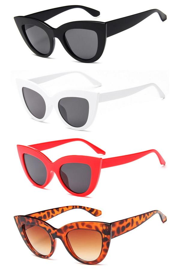 Kalın Çerçeveli Tasarım Cat Eye Bayan Güneş Gözlüğü Siyah Beyaz Kırmızı Leopar 4'lü