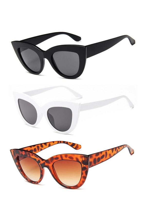 Kalın Çerçeveli Tasarım Cat Eye Bayan Güneş Gözlüğü Siyah Beyaz Leopar 3'lü