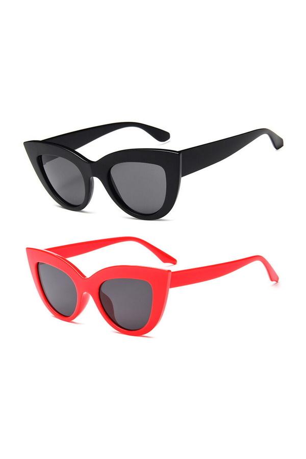 Kalın Çerçeveli Tasarım Cat Eye Bayan Güneş Gözlüğü Siyah Kırmızı 2li