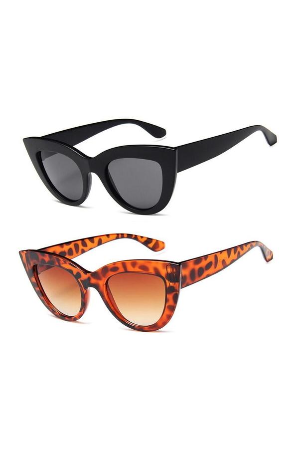 Kalın Çerçeveli Tasarım Cat Eye Bayan Güneş Gözlüğü Siyah Leopar 2'li