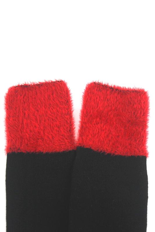 Kırmızı Kürk Uçlu Pamuklu Dizüstü Çorap Siyah