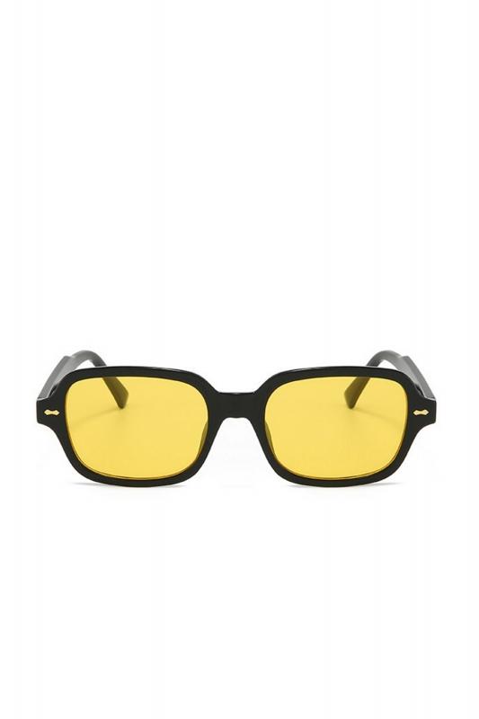 Kors Sarı Camlı Kare Kemik Çerçeveli Erkek Güneş Gözlüğü Siyah