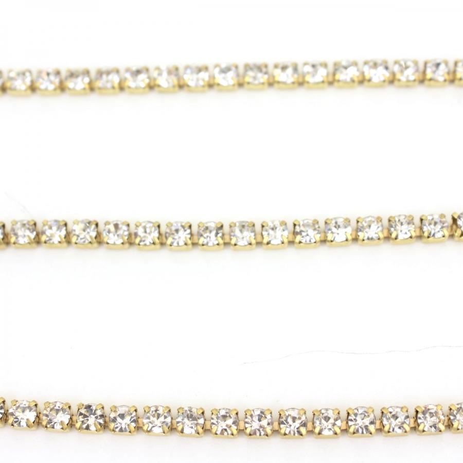 Kristal Taşlı Gözlük Zinciri Gold