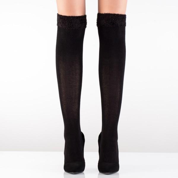 Kürk Uçlu Pamuklu Dizüstü Çorap Siyah