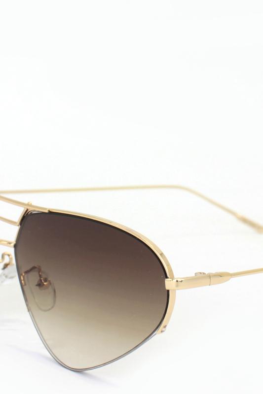 Look Gold Metal Çerçeveli Cat Eye Unisex Güneş Gözlüğü Degrade Kahverengi