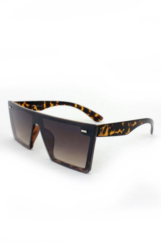 Lotta Kare Büyük Güneş Gözlüğü Kahverengi Leopar