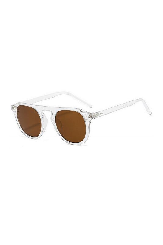 Lovable Kahverengi Camlı Yuvarlak Kemik Çerçeveli Unisex Güneş Gözlüğü Şeffaf