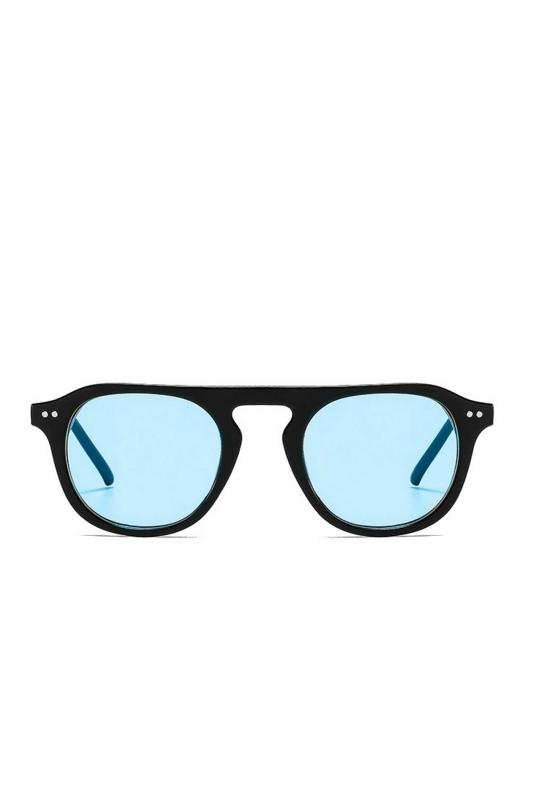 Lovable Mavi Camlı Yuvarlak Kemik Çerçeveli Erkek Güneş Gözlüğü Siyah