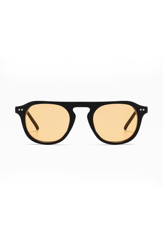 Lovable Turuncu Camlı Yuvarlak Kemik Çerçeveli Unisex Güneş Gözlüğü Siyah