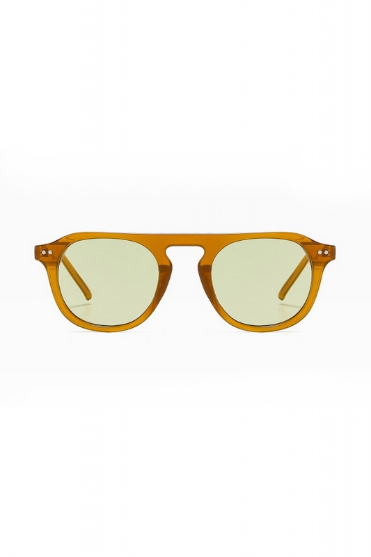 Lovable Yeşil Camlı Yuvarlak Kemik Çerçeveli Unisex Güneş Gözlüğü Hardal Sarı