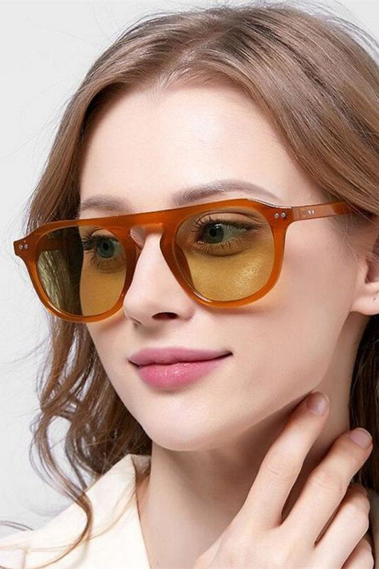 Lovable Yeşil Camlı Yuvarlak Kemik Çerçeveli Unisex Güneş Gözlüğü Kahverengi