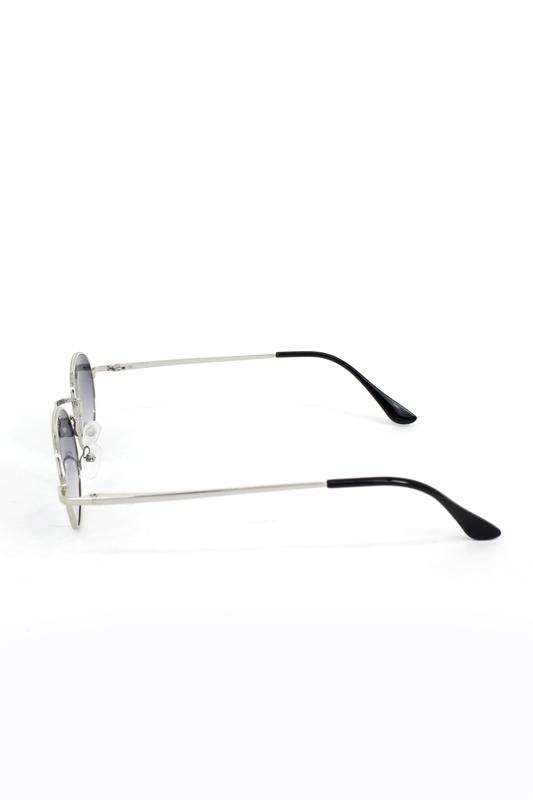 Lucy Silver Metal Çerçeveli Küçük Yuvarlak Güneş Gözlüğü Degrade Füme
