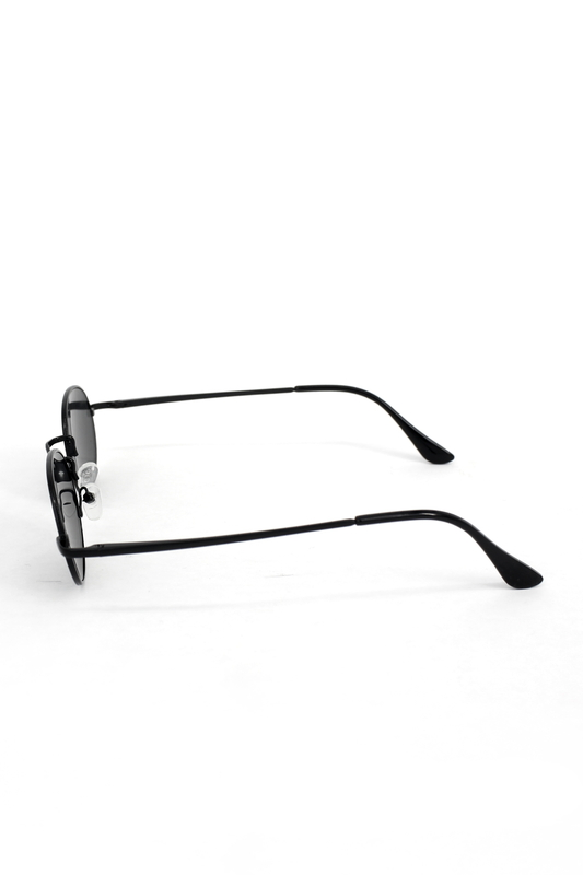 Lucy Siyah Metal Çerçeveli Küçük Yuvarlak Güneş Gözlüğü Şeffaf Siyah