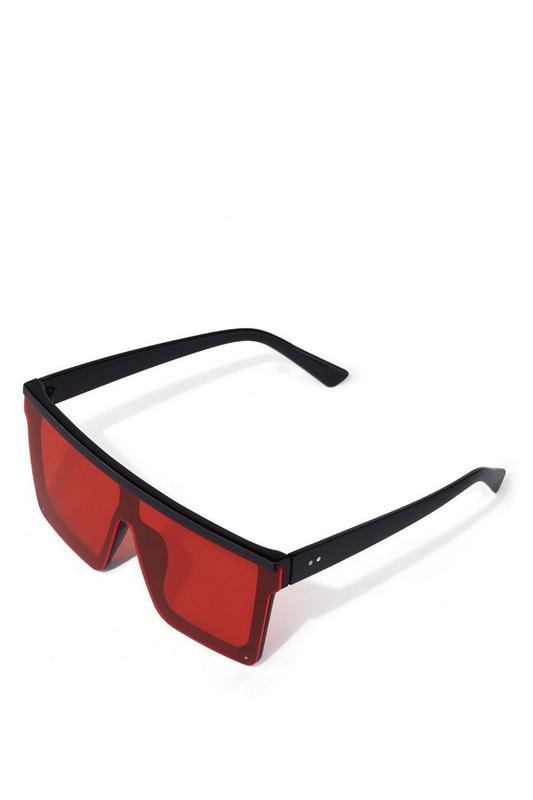 Major Kırmızı Camlı Kare Büyük Unisex Güneş Gözlüğü Siyah