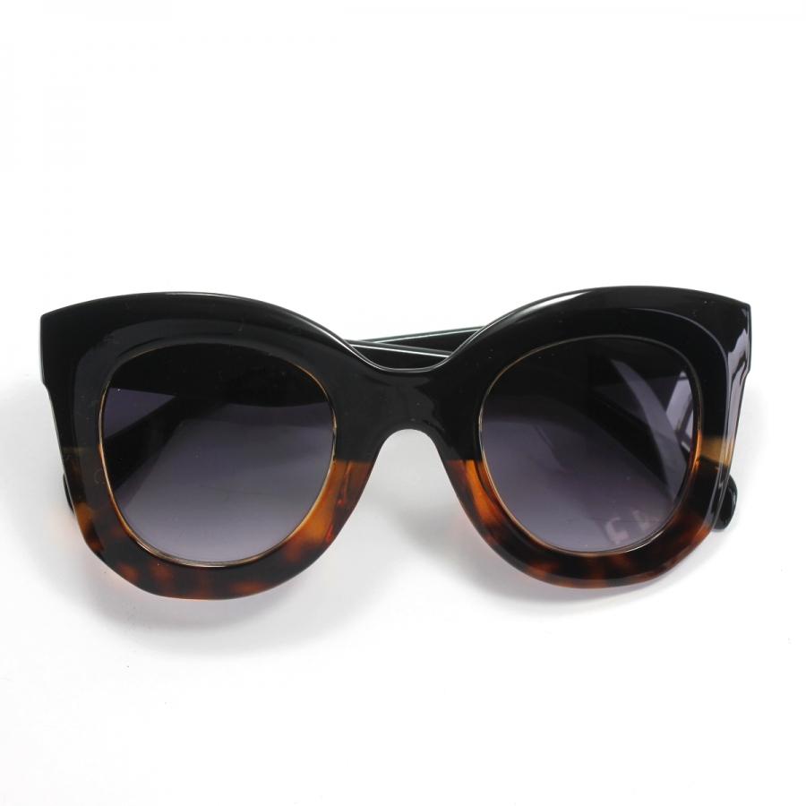 Marta Kalın Kemik Çerçeveli Oval Güneş Gözlüğü Siyah Leopar