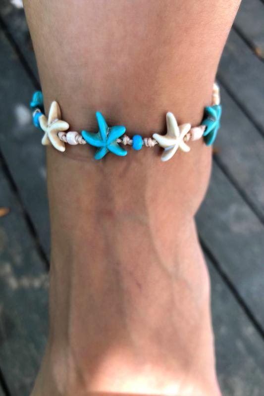 Mavi Beyaz Deniz Yıldızlı İpli Halhal