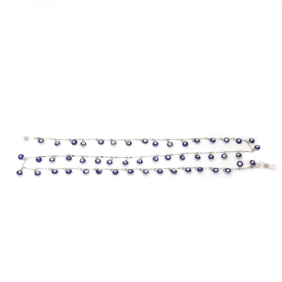 Mavi Nazar Boncuklu Gözlük Zinciri Silver