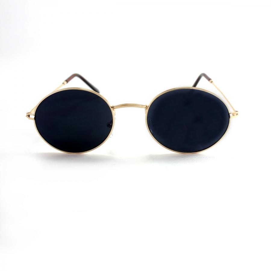 Milo Gold Metal Çerçeveli Yuvarlak Güneş Gözlüğü Siyah