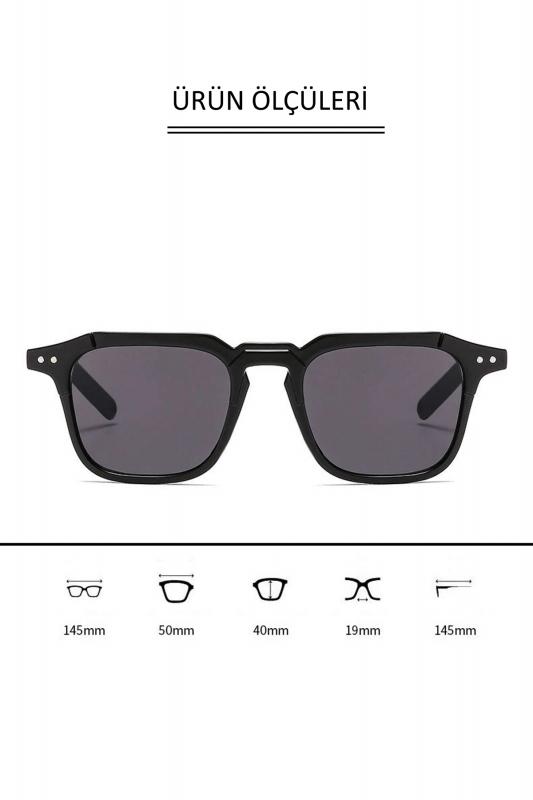 Mist Kahverengi Camlı Kare Kemik Çerçeveli Unisex Güneş Gözlüğü Şeffaf Kahverengi