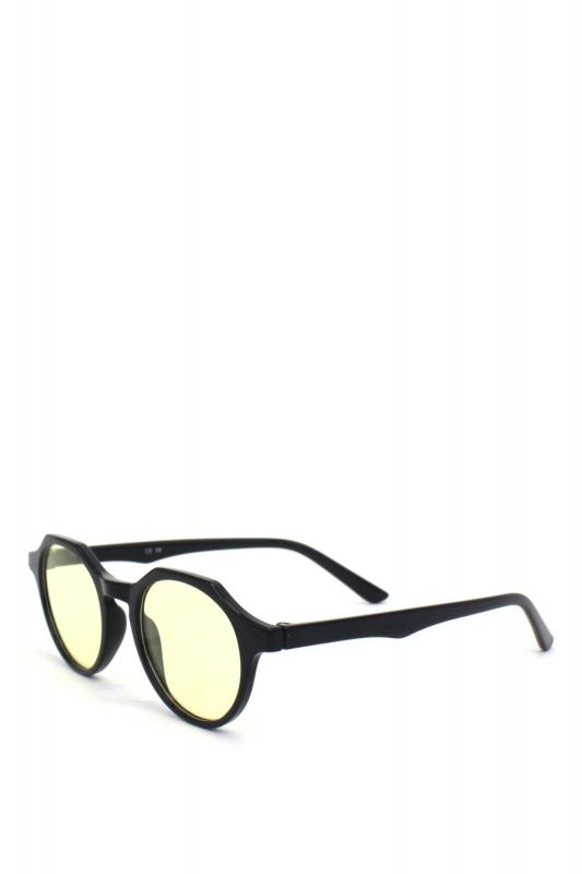 Misty Yuvarlak Kemik Çerçeveli Sarı Camlı Güneş Gözlüğü Parlak Siyah