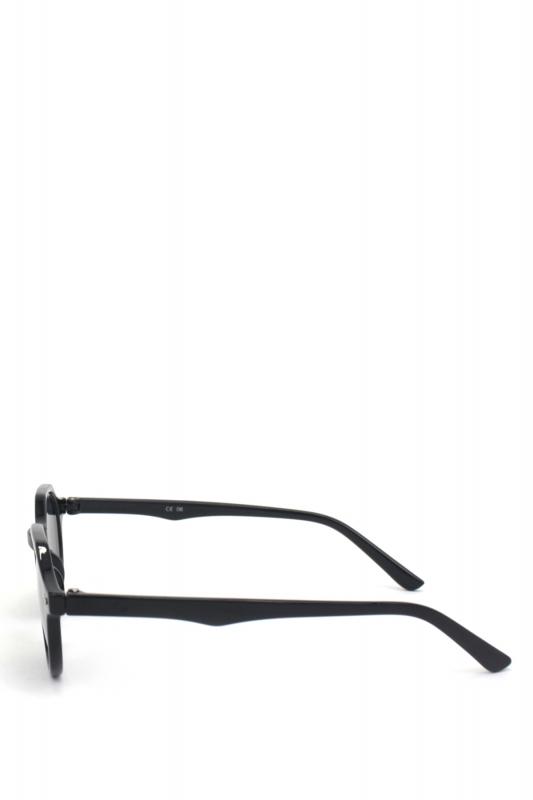 Misty Yuvarlak Kemik Çerçeveli Siyah Camlı Güneş Gözlüğü Parlak Siyah