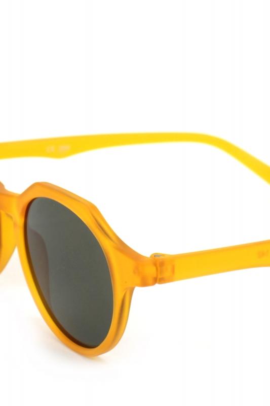 Misty Yuvarlak Kemik Çerçeveli Yeşil Camlı Güneş Gözlüğü Mat Turuncu